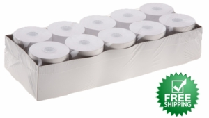 "2 1/4"" x 90'  (58mm x 27m)  2-Ply Carbonless Paper Small Pack  (10 rolls/case) - White / Canary"