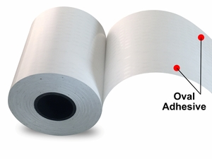 "2.25"" x 150'  Print & Stick Thermal Paper (18 rolls/case) - Oval Adhesive"