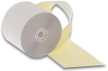 """2 3/4"""" x 90'  (70mm x 29m)  2-Ply Carbonless Paper  (50 rolls/case) - White / Canary"""