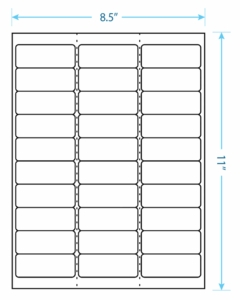 """2.625"""" x 1""""  Laser/Inkjet Labels; 30 up; (100 sheets/box) - Standard White Matte; Perforated"""
