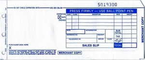 2-Part Sales Slips (Long) 100-Pack