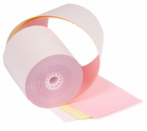 "3 1/4"" x 65'  (83mm x 19.8m)  3-Ply Carbonless Paper  (50 rolls/case) - White / Canary / Pink"
