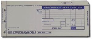 "3-Part LONG (3 1/4"" x 7 7/8"") Sales Imprinter Slips (100 slips/pack) - Blue"