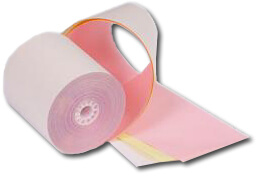 """3"""" x 67'  (76mm x 20m)  3-Ply Carbonless Paper Small Pack  (10 rolls/case) - White / Canary / Pink"""
