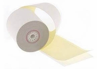 """3"""" x 95'  (76mm x 29m)  2-Ply Carbonless Paper  (50 rolls/case) - White / Canary"""