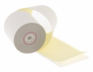 """3"""" x 95'  (76mm x 29m)  2-Ply Carbonless Paper  (20 rolls/case) - White / Canary  <font color=red> Free USPS Shipping to HI & AK </font>"""