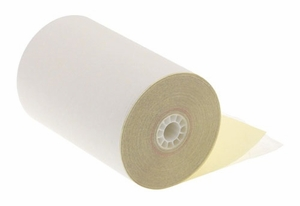 "4 1/2"" x 95'  (114mm x 29m)  2-Ply Carbonless Paper  (24 rolls/case) - White / Canary"