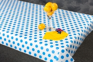 "40"" x 100'  Paper Table Cover (1 roll) - Blue Polka Dot Design"