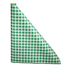 """40"""" x 100'  Paper Table Cover (1 roll) - Green / White Gingham"""