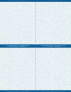 "8 1/2"" x 11"" - 4 up Laser Rx Paper (500 sheets/package) Horizontal & Vertical Perf - Blue"