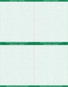 """8 1/2"""" x 11"""" - 4 up Laser Rx Paper (500 sheets/package) Horizontal & Vertical Perf - Green"""