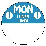 814211-3FG Monday Trilingual 1 Inch Cirlcle 3 Roll Pack-REMOVX  <font color=red>*Clearance Item*</font>