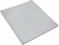 "9 1/2"" x 11"" - 20# 1-Ply Continuous Computer Paper (2,300 sheets/carton) Clean Edge Perf - Blank White"