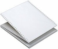 "9 1/2"" x 3 2/3"" - 20# 1-Ply Continuous Computer Paper (8,000 sheets/carton) - Blank White, Regular Perf."