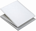 """9 1/2"""" x 5 1/2"""" - 15# 3-Part Premium Carbonless Computer Paper (2,100 sheets/carton) - L&R Perf. White / Canary / Pink"""
