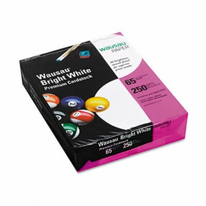Wausau Bright White Card Stock, 65 lbs., 8-1/2 x 11, Bright White, 250 Sheets/Pack