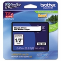 Brother TZe Standard Adhesive Laminated Labeling Tape, 1/2w, Black on White