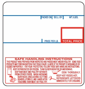 CAS LP-1000N (58mm x 60mm) UPC with Safe Handling Scale Label (6,000 labels/case) - CAS 8040