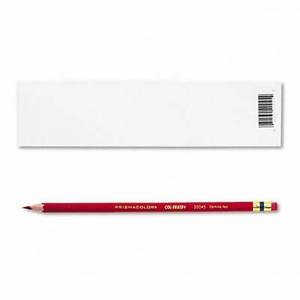 Sanford Col-Erase Pencil w/Eraser, Carmine Red Lead/Barrel, Dozen