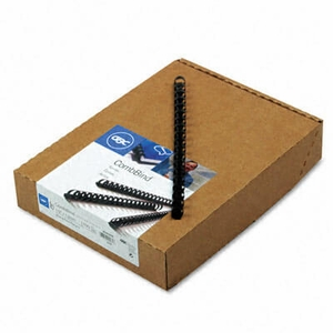 "CombBind Standard Spines, 1/2"" Diameter, 85 Sheet Capacity, Black, 100/Box"