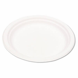 "Ec-Products Compostable Sugarcane Dinnerware, 9"" Plate, Natural White, 500/Carton"