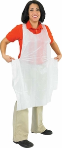 Disposable Bib Apron - Polyethylene - White - Large