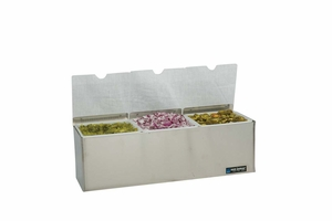 EZ-Chill Condiment Center w/Notched Lids - (3) 1 Qt Inserts w/Individual Notched Lids, (1) Ice Liner