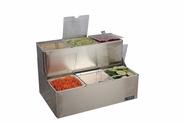 EZ-Chill Stepped Condiment Center w/Notched Lids - (6) 1 Qt Inserts w/Individual Notched Lids, (2) Ice Liners