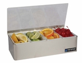 Garnish Tray - Non-Chilled - (4) 1 Pt w/Plex Lids