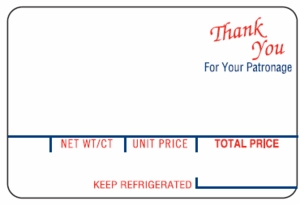 """Hobart 1800 Series, 18VP / 18VPS (2.50"""" x 1.65"""") Thank You Scale Labels (80 rolls)"""