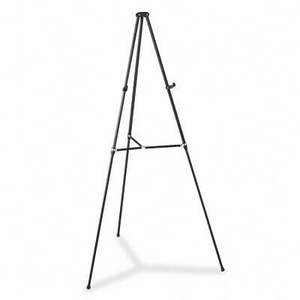 "Lightweight Telescoping Tripod Easel, Adjusts 38"" to 66"" High, Aluminum, Black"