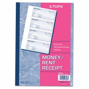 Money/Rent Receipt Books, 7-1/4 x 2-3/4, Three-Part Carbonless, 100 Sets/Book