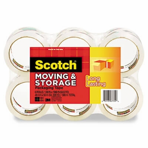 "3M Moving & Storage Tape, 1.88"" x 54.6 yards, 3"" Core, Clear, 6 Rolls/Pack"