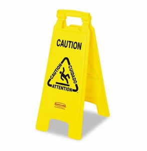 "Multilingual ""Caution"" Floor Sign Plastic 11 x 1-1/2 x 26 Bright Yellow - Rubbermaid"