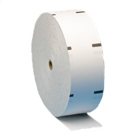 "NCR Persona Series  3 1/8"" x 1960'  ATM Thermal Receipt Paper  (4 rolls/case) - 4.4"" Repeat Sensemark Outside"