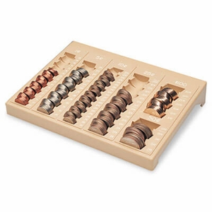 Steelmaster One-Piece Plastic Countex II Coin Tray w/6 Compartments, Sand