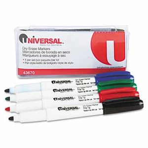 Pen Style Dry Erase Markers, Fine Tip, Assorted, 4/Set