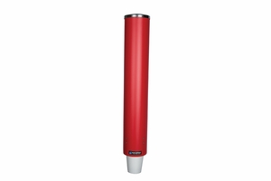 Pull-Type Paper/Plastic Bev Cup Dispenser - 4-10 Oz - Red