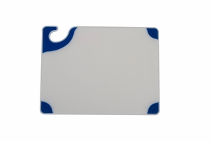Saf-T-Grip White Cutting Cutting Board - Blue Grips