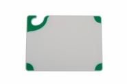 Saf-T-Grip White Cutting Board - Green Grips
