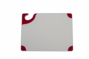 Saf-T-Grip White Cutting Board - Red Grips