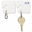 Slotted Rack Key Tags, Plastic, 1-1/2 x 1-1/2, White, 20/Pack