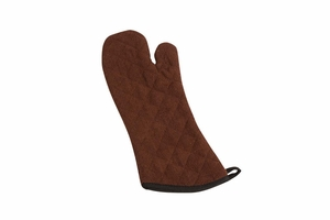 """Terry Oven Mitt - Protects to 500F - 17"""" - Brown"""