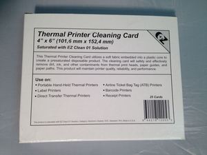 "Thermal Printer Cleaning Cards 4"" x 6"" (25 / Box)"