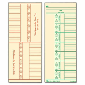 Tops Time Card for Cincinnati, Named Days, Two-Sided, 3-3/8 x 8-1/4, 500/Box