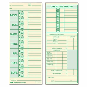 Tops Time Card for Pyramid Model 331-10, Weekly, Two-Sided, 3-1/2 x 8-1/2, 500/Box