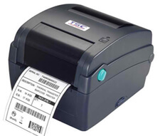 TSC TTP-343C Thermal Transfer Printer, 300 dpi, 4 ips (navy) with 4 ports - Ethernet, USB, Parallel, Serial