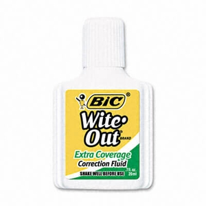 Bic Wite-Out Extra Coverage Correction Fluid, 20 ml Bottle, White, 12/Pack