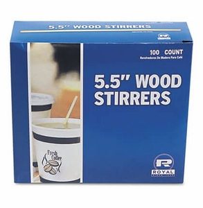 "Wood Coffee Stirrers 5-1/2"" Long Woodgrain 1000 Stirrers/Box"