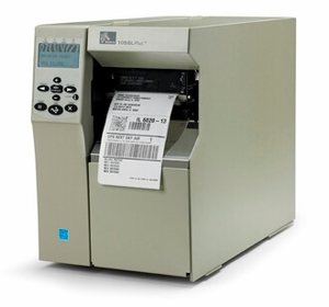 "Zebra 105SLPlus Industrial Label Printer - 4"" Print Width, 203 DPI, Rewind with Peel, 802.11 B/G"